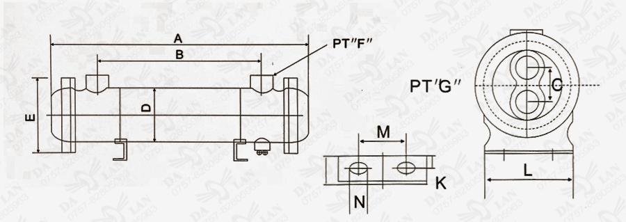 大兰OR 系列水冷却器尺寸图