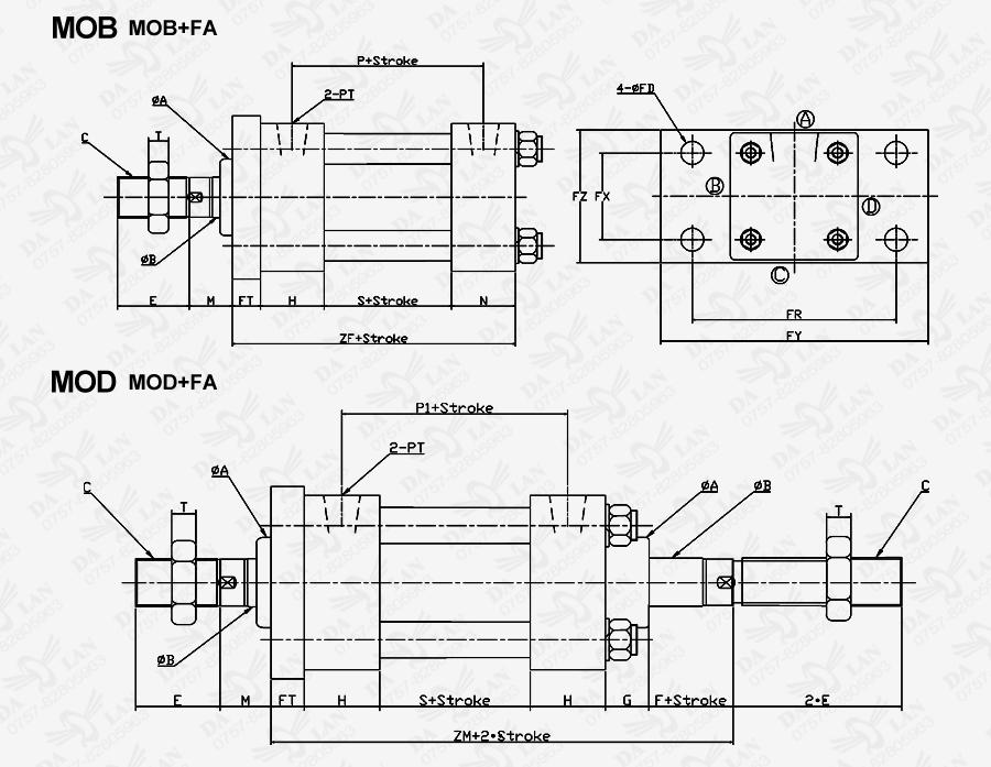 大兰方型MOB系列前法兰型油压缸尺寸