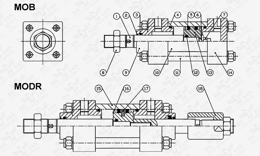 大兰MOB系列油压缸尺寸