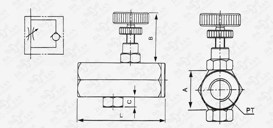 大兰KC管式单向节流阀尺寸