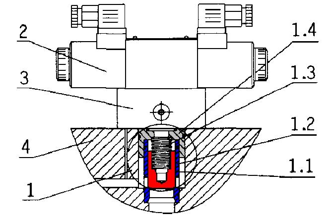 二通插装阀的典型结构图