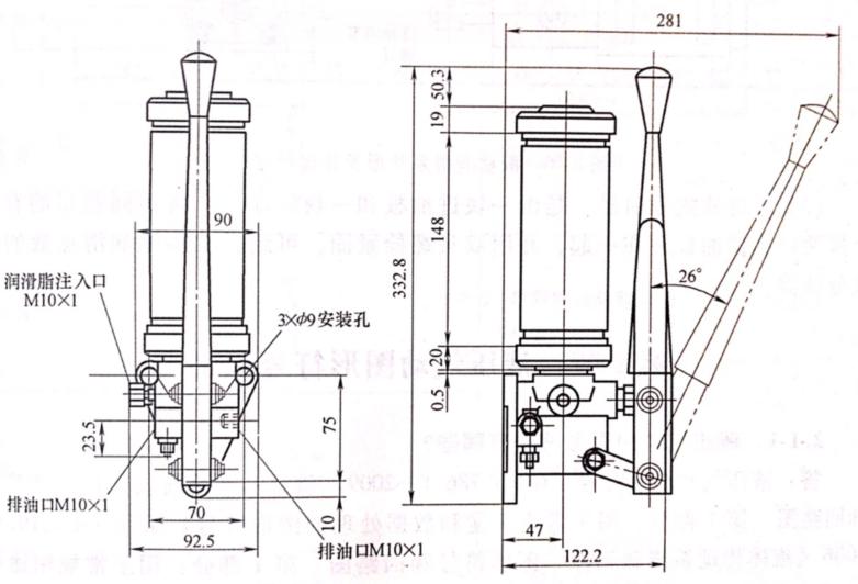 手动润滑泵外形及连接尺寸
