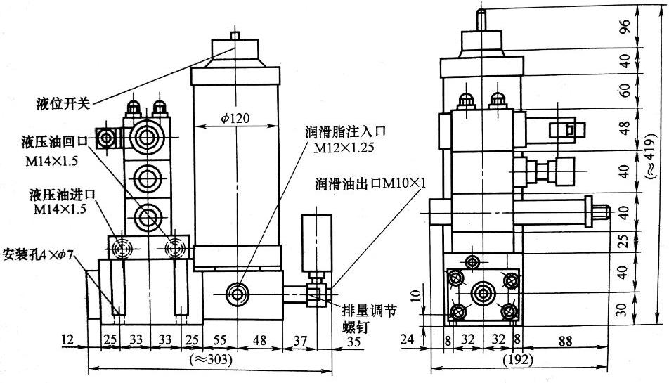 液动润滑泵外形及连接尺寸