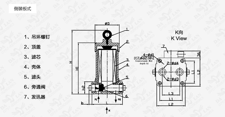 大兰ZU-H倒装板式过滤器尺寸表
