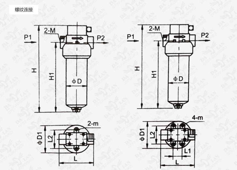 大兰ZU-H螺纹连接过滤器尺寸表