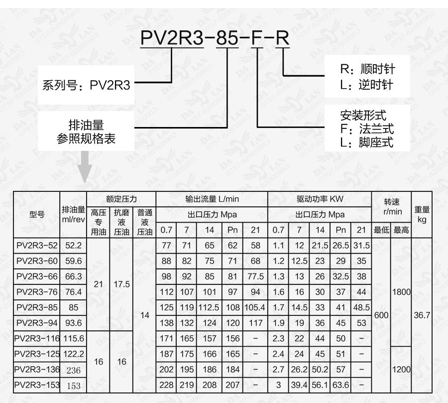 大兰PV2R3系列定量叶片泵型号说明