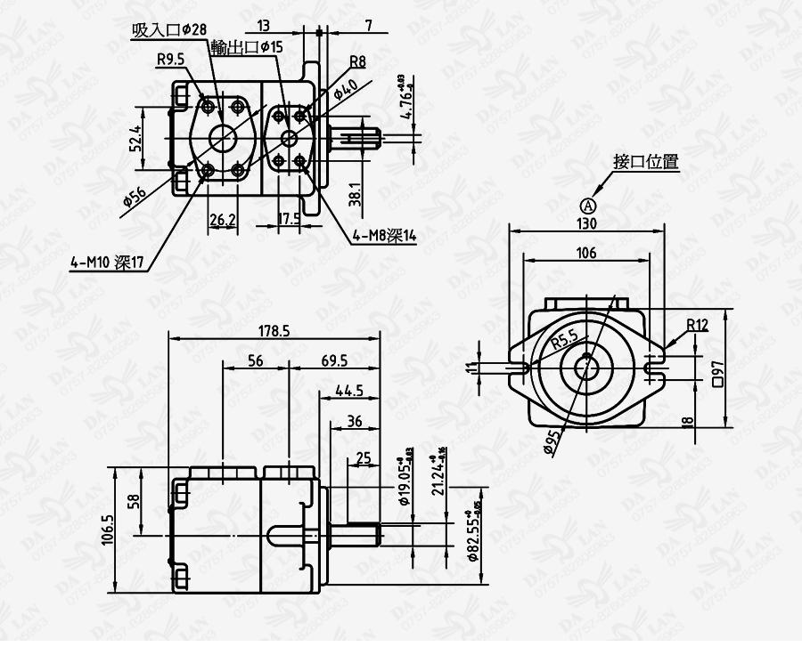 大兰PV2R1系列定量叶片泵尺寸表