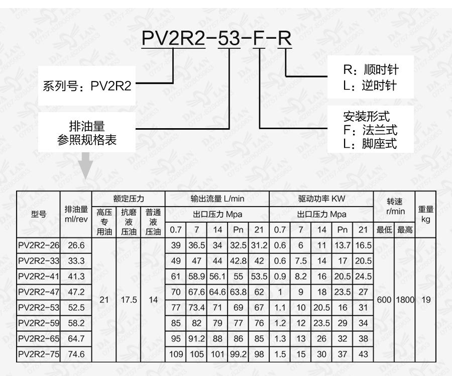 大兰PV2R2系列定量叶片泵型号说明