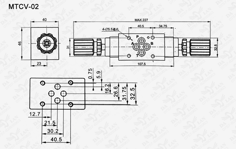 大兰MTCV-02叠加式单向节流阀尺寸