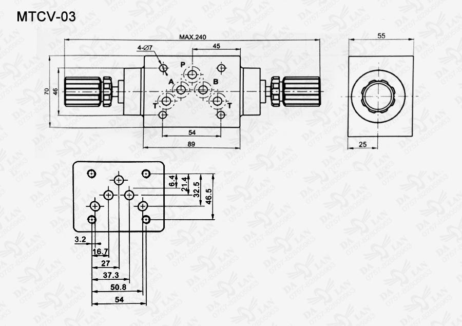 大兰MTCV-03叠加式单向节流阀尺寸