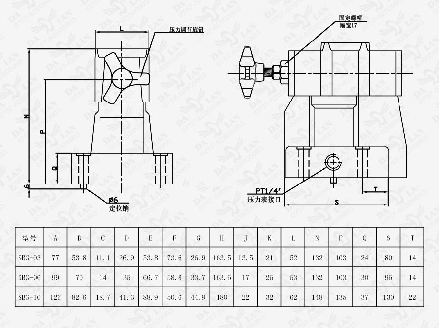 大兰SBG板式低噪音引导式溢流阀尺寸