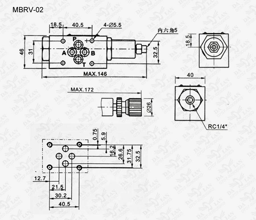 大兰MBRV-02叠加式减压阀尺寸