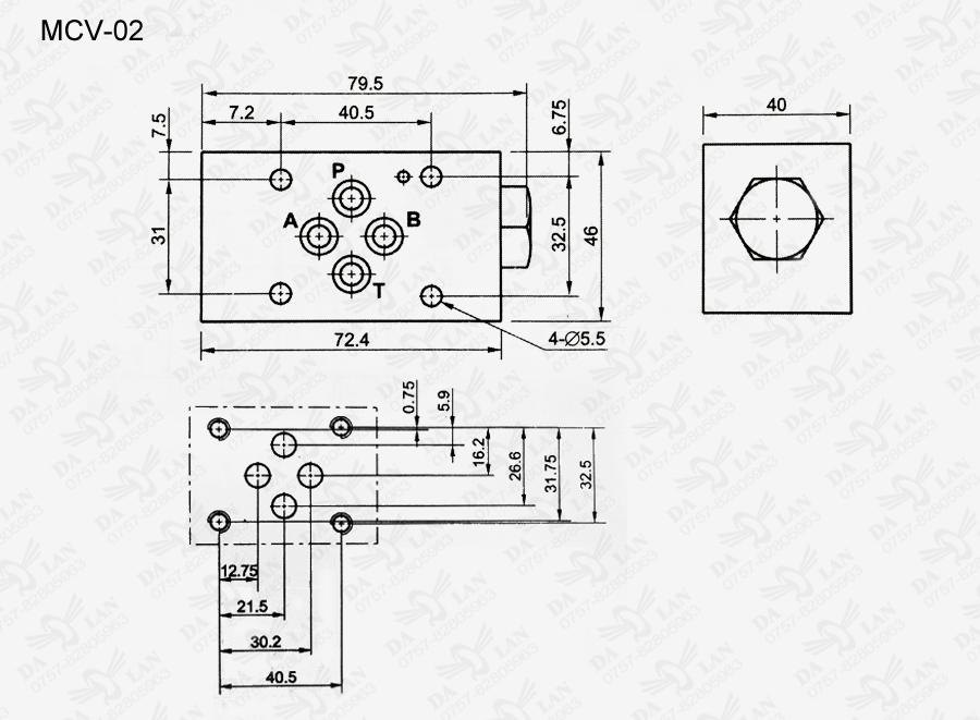 大兰MCV-02叠加式单向阀尺寸