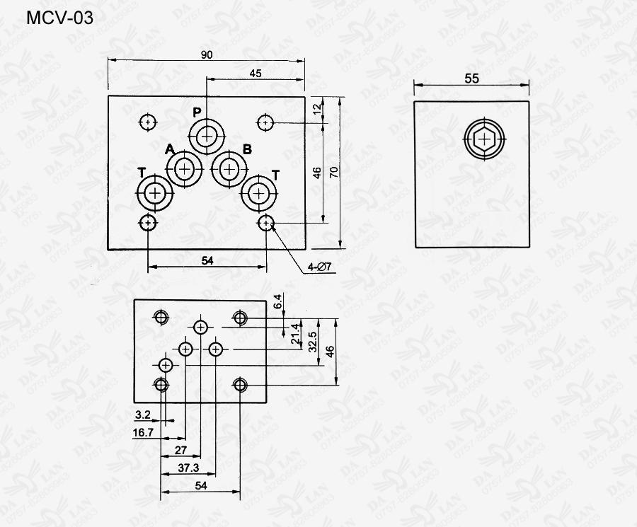 大兰MCV-03叠加式单向阀尺寸